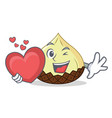 with heart snake fruit mascot cartoon vector image vector image