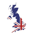 great britain map and flag icon vector image