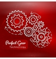 Abstract red background with gears design vector image vector image