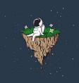 astronaut flies on flying island vector image vector image