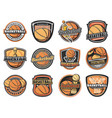 basketball ball basket player and trophy icons vector image