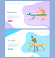 beauty procedure services body wrap and massage vector image vector image