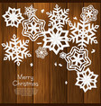 Christmas card with cut out paper snowflakes vector image