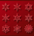 collection of red glitter snowflakes nine vector image