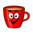 Colorful red cartoon mug of coffee vector image vector image