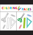 coloring book page back to school set scissors vector image vector image