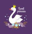 cute cartoon white baby swan princess vector image vector image