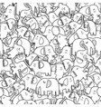 cute elephants black and white seamless pattern vector image vector image