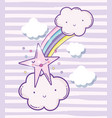 cute fluffy clouds with rainbow and beauty star vector image vector image