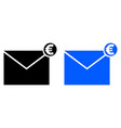 envelope with money icon vector image vector image