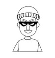 face hacker man character technology crime vector image