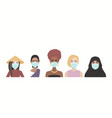five masked women multi-ethnic different vector image
