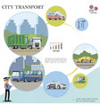 flat city transport colorful concept vector image vector image