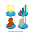 Flat professional growth icon Startup concept vector image