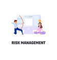 flat style business scene with tiny people risk vector image vector image