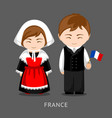 french in national dress with a flag vector image vector image
