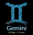 gemini ornamental decorative zodiac sign vector image