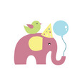 greeting elephant pink with bird on back vector image