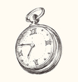 Hand drawn vintage watch clock sketch vector image