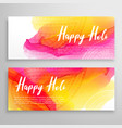 Holi festival banners with colorful background vector image