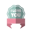 i love you greeting pink banner shadow vector image
