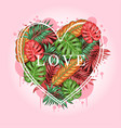 leaf tropical summer valentine artwork vector image vector image