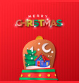 merry christmas paper cut snow globe house cartoon vector image