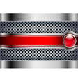 metallic background with a red button vector image