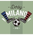 Milanese Derby Label Design Soccer Boots And Ball vector image