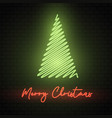 neon christmas tree sign vector image vector image