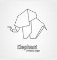 origami logo contour elephant vector image
