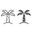 palm tree line and glyph icon nature and plant vector image vector image