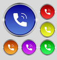 Phone icon sign Round symbol on bright colourful vector image vector image
