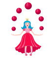 princess in a crown and pink dress plays vector image vector image