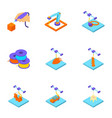 print with plastic icons set isometric style vector image vector image