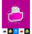 printer paper sticker with hand drawn elements vector image vector image