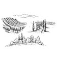 rural scene fragments sketch vector image