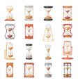 sandglass glass clock with flowing sand and vector image
