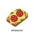 Sandwich salami and cheese vector image vector image