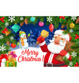 santa with snowman christmas gifts and xmas bell vector image vector image