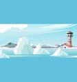 seascape lighthouse icebergs vector image