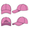set of with a pink baseball cap vector image vector image