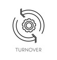 turnover isolated icon productivity and cogwheel vector image vector image