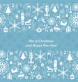 vintage christmas paper card with xmas icons vector image