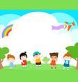 blank template happy kids poster design vector image