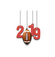 2019 new year and football ball hanging on strings vector image vector image