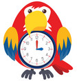 a bird clock on white background vector image
