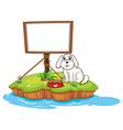 A puppy and the empty board in an island vector image vector image