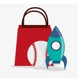 Baseball and rocket toy and game design vector image vector image