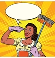 Beautiful woman cleaner with brush for floors vector image